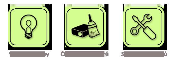 Výměna lampy, čištění projektorů, servis projektorů