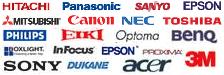 Loga značek Hitachi, Panasonic Sanyo, Epson, Mitsubishi, Canon, NEC, Toshiba, Philips, Eiki, Optoma, BenQ, Boxlight, Infocus, Epson, 3M, Proxima, SONY, Dukane, Acer